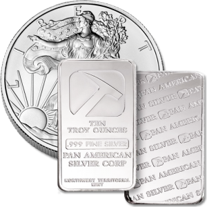 silver coins and silver bars